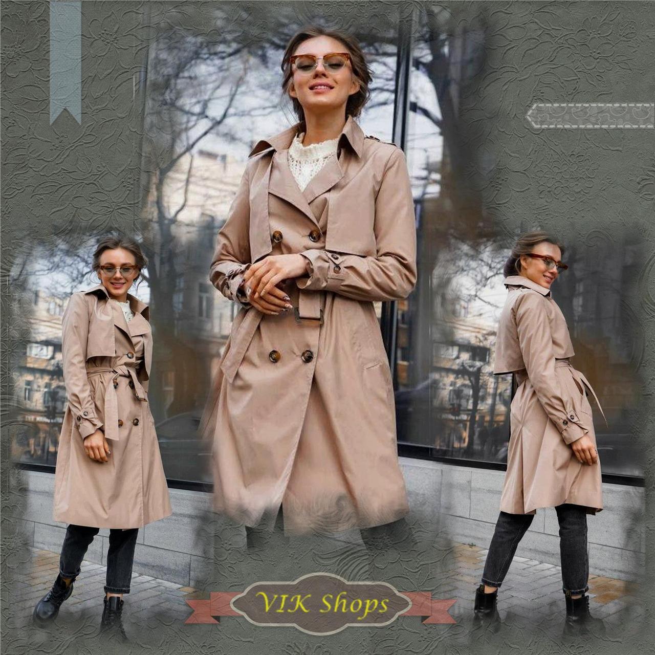 Плащ-тренч брендовий жіночий Domenica стильний двобортний (бежевий, р. S-XL)