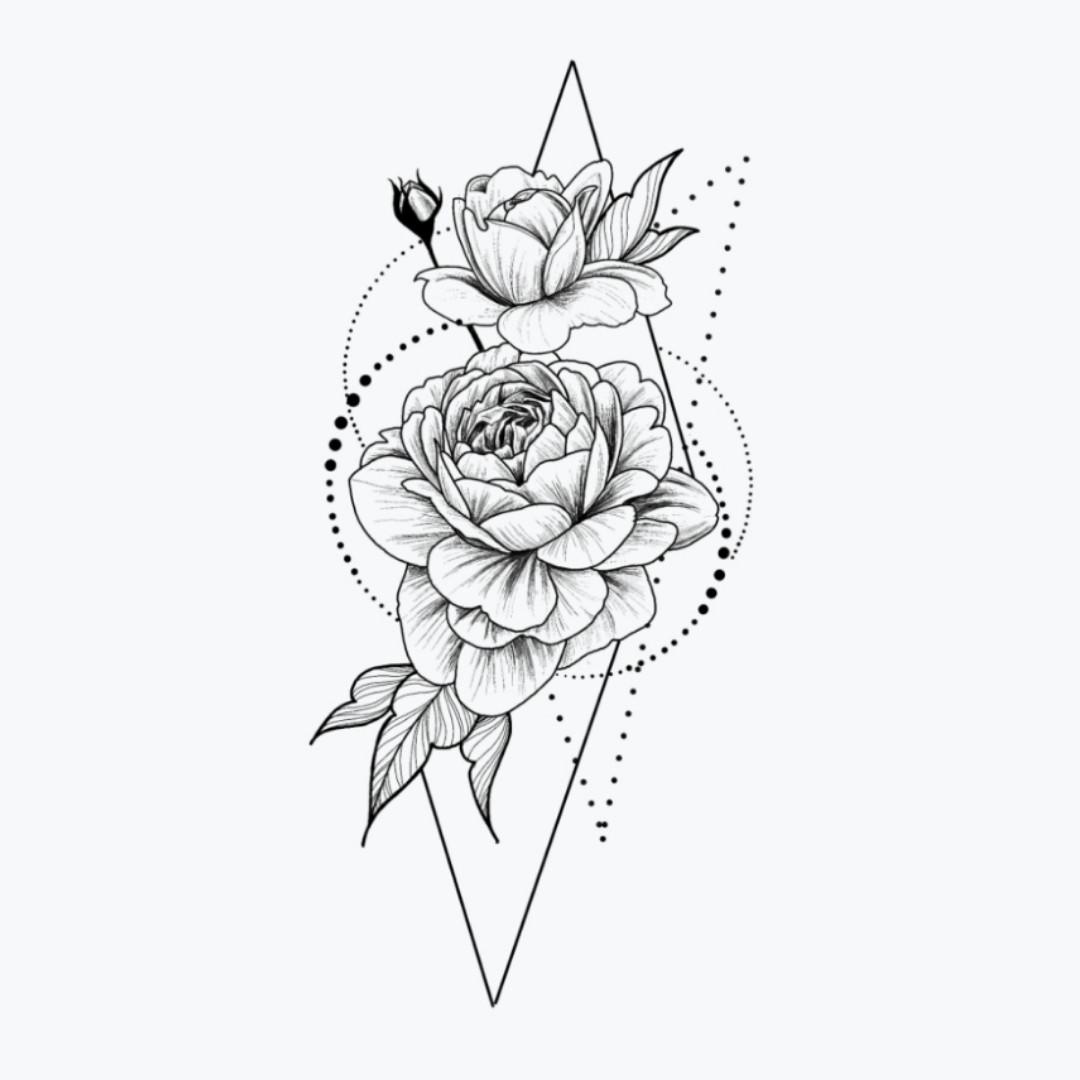 """Флеш-тату """"Розы в геометрии"""""""