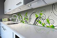 Кухонный фартук Зеленые завитки (скинали для кухни наклейка ПВХ) Растительный орнамент Зеленый 600*2500 мм