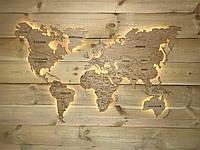 Деревянная карта Мира с LED подсветкой и гравировкой 200х120 см бежевая 6465418