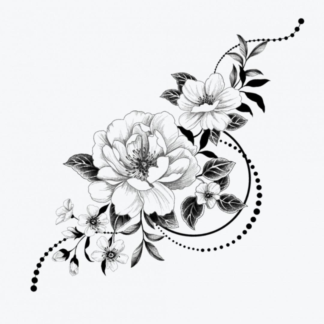 """Флеш-тату """"Графические цветы"""""""