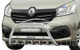 Кенгурятник Opel Vivaro 2015-2019, нерж, с надписью