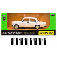 Машина металева АВТОПРОМ 2106\\2112\\2104 ВАЗ на батарейках: світло та звук, відкриваються двері, капот, багажник, в коробці 24,5*12,5*10 см