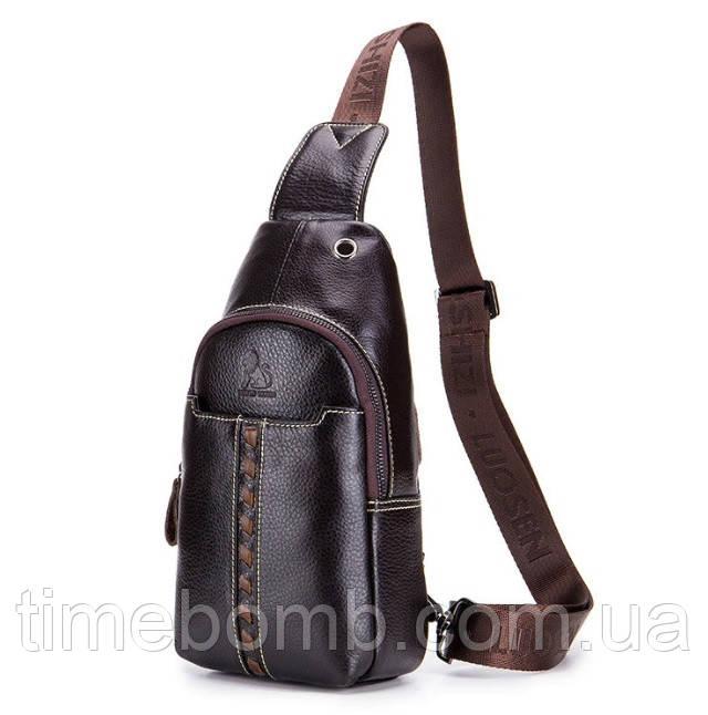 Мужской кожаный рюкзак Laoshizi Luosen On style