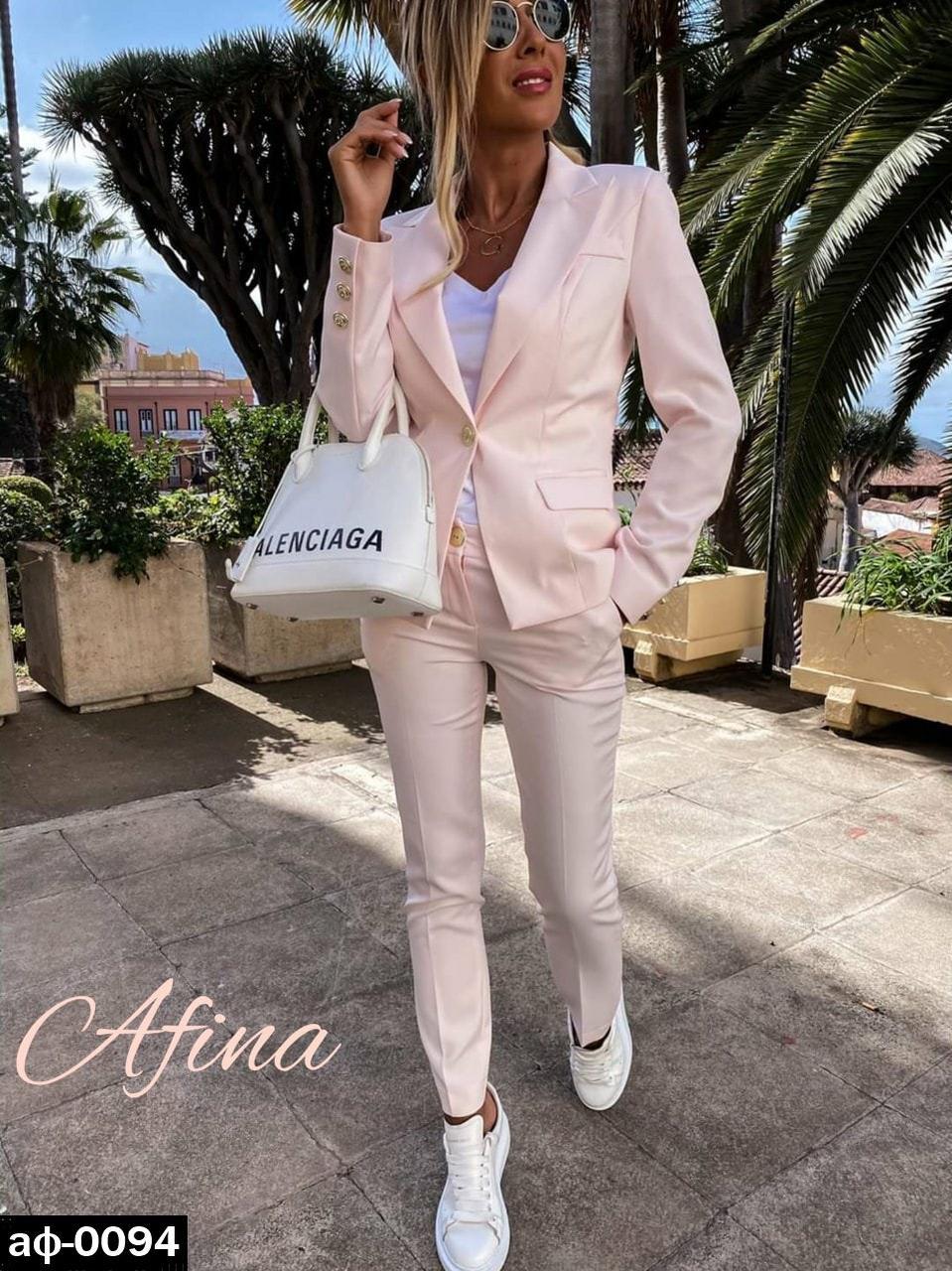 Женский стильный брючный костюм с пиджаком С, М +большие размеры Разные цвета