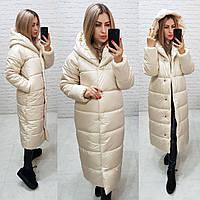 Женское пальто-одеяло зима oversize  М521  кремовое / молочное / светло-бежевое