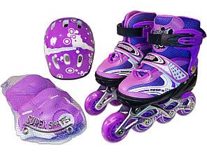 Детские ролики 28-33, 34-38  р - Комплект Раздвижных Роликов Sport - Фиолетовый, фото 2