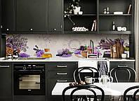 Кухонный фартук Лаванда Арома (скинали наклейка ПВХ) Прованс лавандовое ассорти Фиолетовый 600*2500 мм