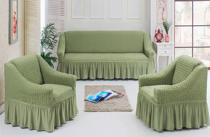 Натяжные чехлы на диван и 2 кресла,Турция с оборкой