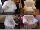 Натяжные чехлы на диван и 2 кресла,Турция с оборкой, фото 6