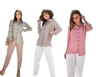 Гламурная молодежная рубашка с карманами на груди /разные цвета, S-XL, SEV-1387.4230