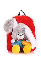 Детский плюшевый рюкзак с зайцем
