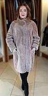 Шуба натуральная женская мутон овчина пудра производство Турция