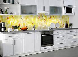 """Скинали на кухню Zatarga """"Нежные желтые орхидеи"""" 600х2500 мм желтый виниловая 3Д наклейка кухонный фартук"""