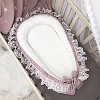Кокон для новорожденных De Lux пыльная роза