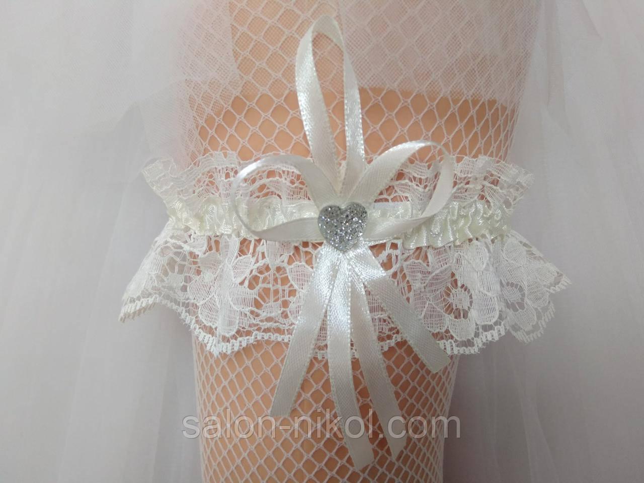 Подвязка для невесты кружевная айвори