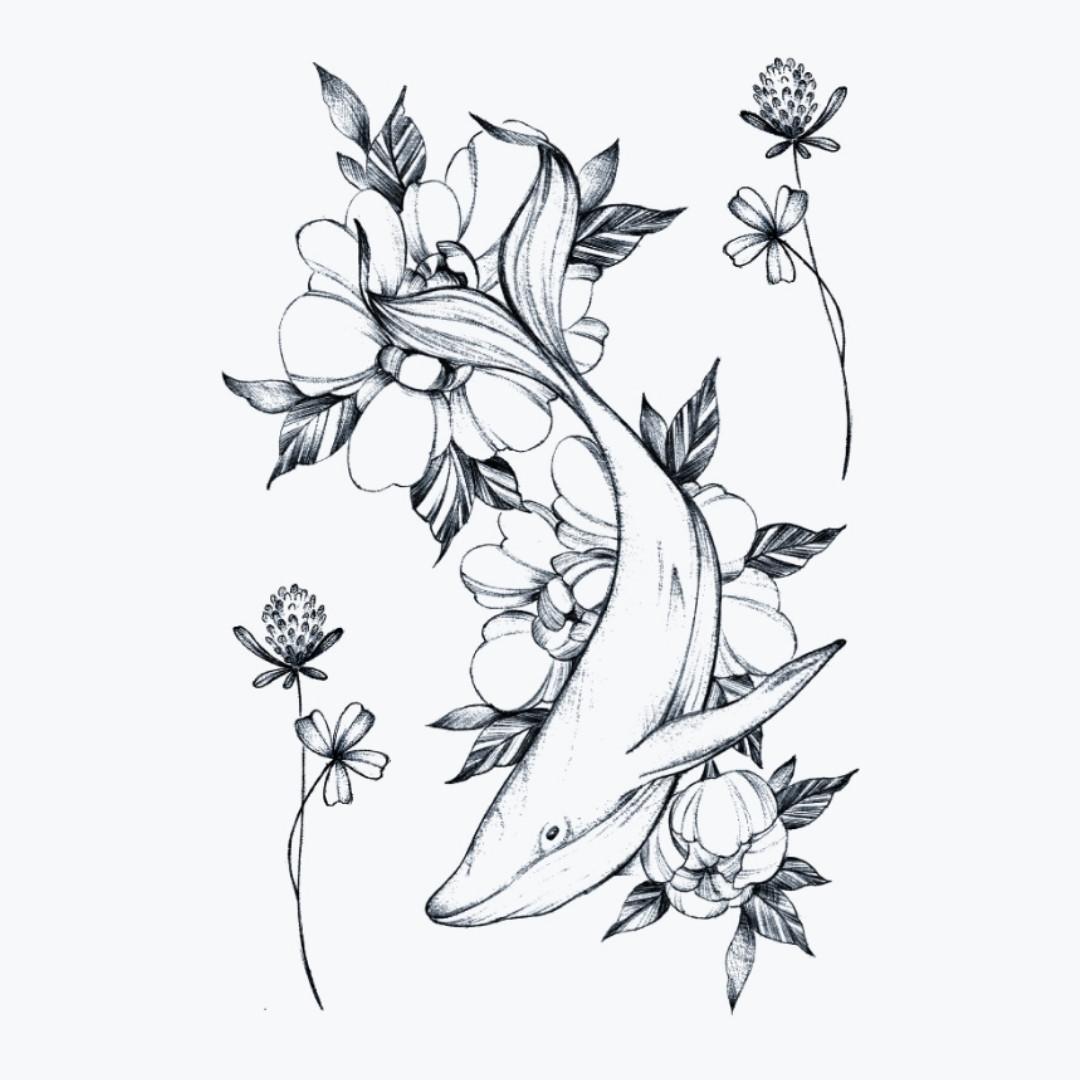 """Флеш-тату """"Floral diving"""""""