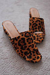 Женские босоножки леопардовые шлепанцы сабо замшевые на каблуке 5 см 36-38