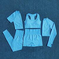 5 единиц, Женский костюм (комплект) для спорта, спортивная одежда для фитнеса (лосины, кофта, шорты, 2 топа)
