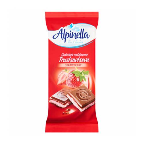 Шоколад молочний Alpinella Strawberry з полуничною начинкою 90 грам