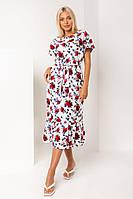 Нежное розовое льняное платье с красными цветами длины ниже колен XS, S, M, L