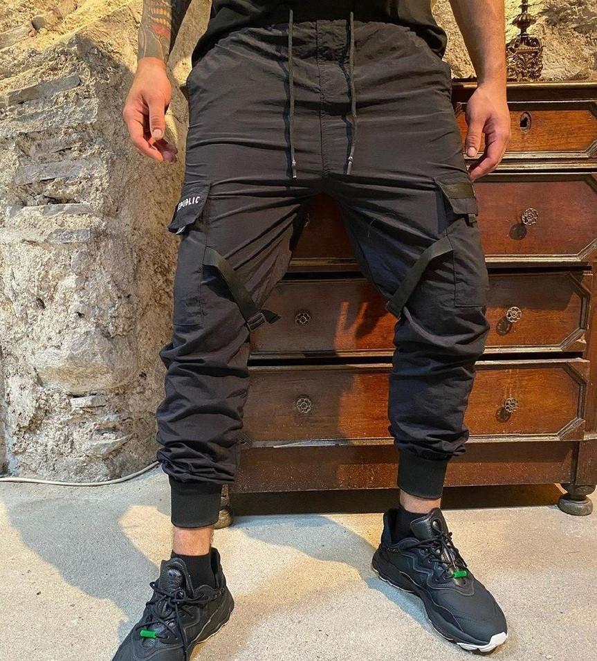Спортивные штаны мужские карго брюки легкие весна-осень-лето с карманами черные Турция. Живое фото