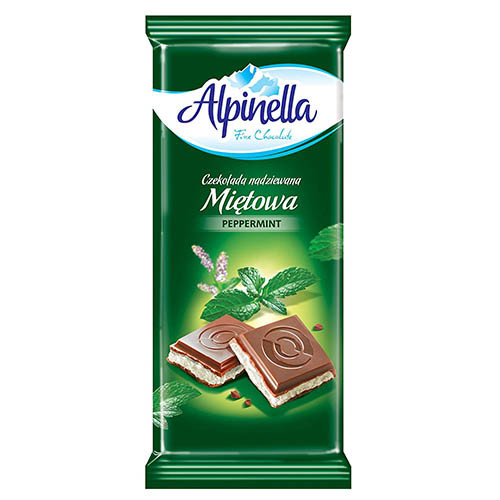 Молочный шоколад с мятой Alpinella 90 грамм
