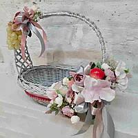 Пасхальная корзина в сером цвете с весенним декором
