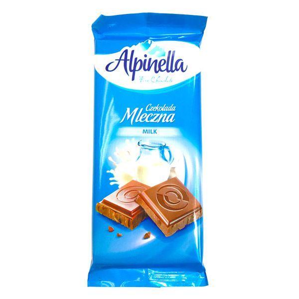 Шоколад молочный без добавок Alpinella 90 грамм