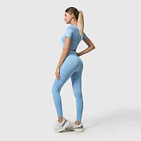 Женский костюм (комплект) для спорта, спортивная одежда для фитнеса (лосины, топ с рукавами), Голубой