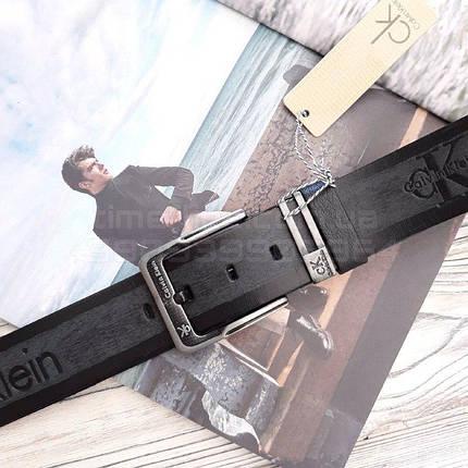 Мужской кожаный ремень Calvin Klein Черный AAA Copy, фото 2