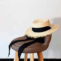 Соломенная шляпа канотье с завязками