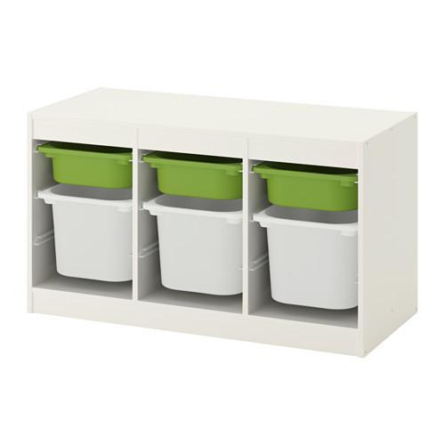 Комбинация д/хранения+контейнерами, белый, зеленый, 99x56 см IKEA TROFAST 892.284.72