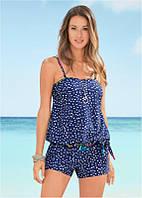 Купальник-платье  раздельный с шортиками, синий в горошек, фото 1
