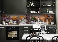 Кухонный фартук Зима в деревне (скинали для кухни наклейка ПВХ) лес снег домики Пейзаж Оранжевый 600*2500 мм