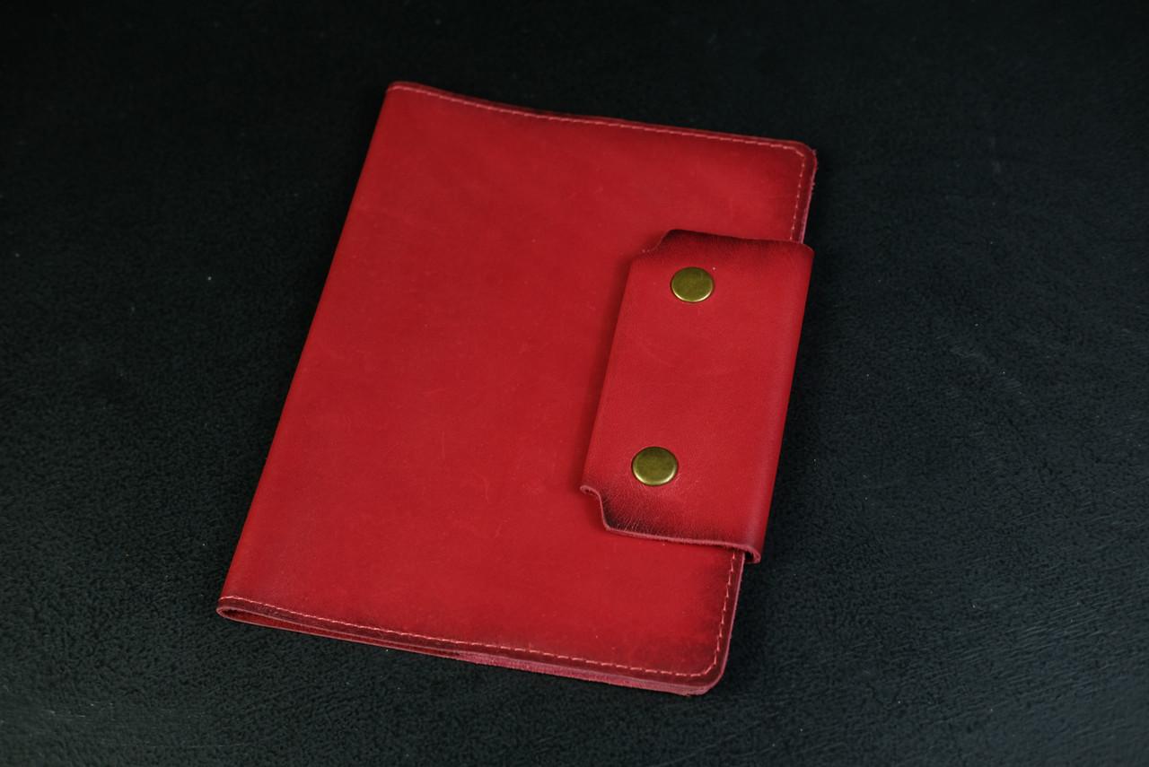 """Обложка для блокнота А5 """"Модель № 2"""" Кожа Итальянский краст цвет Красный"""
