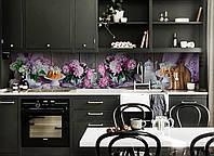 Кухонный фартук Пионы и Сирень (скинали для кухни наклейка ПВХ) Цветы букеты доски Розовый 600*2500 мм