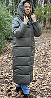 Длинная зимняя куртка с капюшоном темно-серая/ мокрый асфальт М521