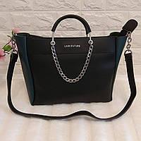 Женская сумка среднего размера с ремешком из цепи ( черная с зеленым)