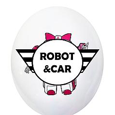 """0023 Шар 12"""" (30 см) Робот - машинка скорая помощь на белом (BelBal)"""