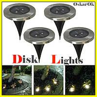 Светодиодный садовый светильник Solar Disk Lights на солнечной батарее.Уличный led фонарь.4 штуки,для дачи