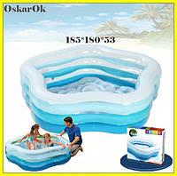 """Детский надувной бассейн Intex,185*180*53 см """"Морская звезда""""с надувным дном.Cемейный большой, дачи, для детей"""