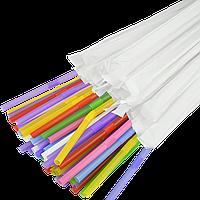 Трубочка в индивидуальной упаковке с коленом 21см.4,8мм.200шт. Микс