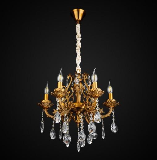 Хрустальная подвесная люстра свечи 6 ламп AR-004888
