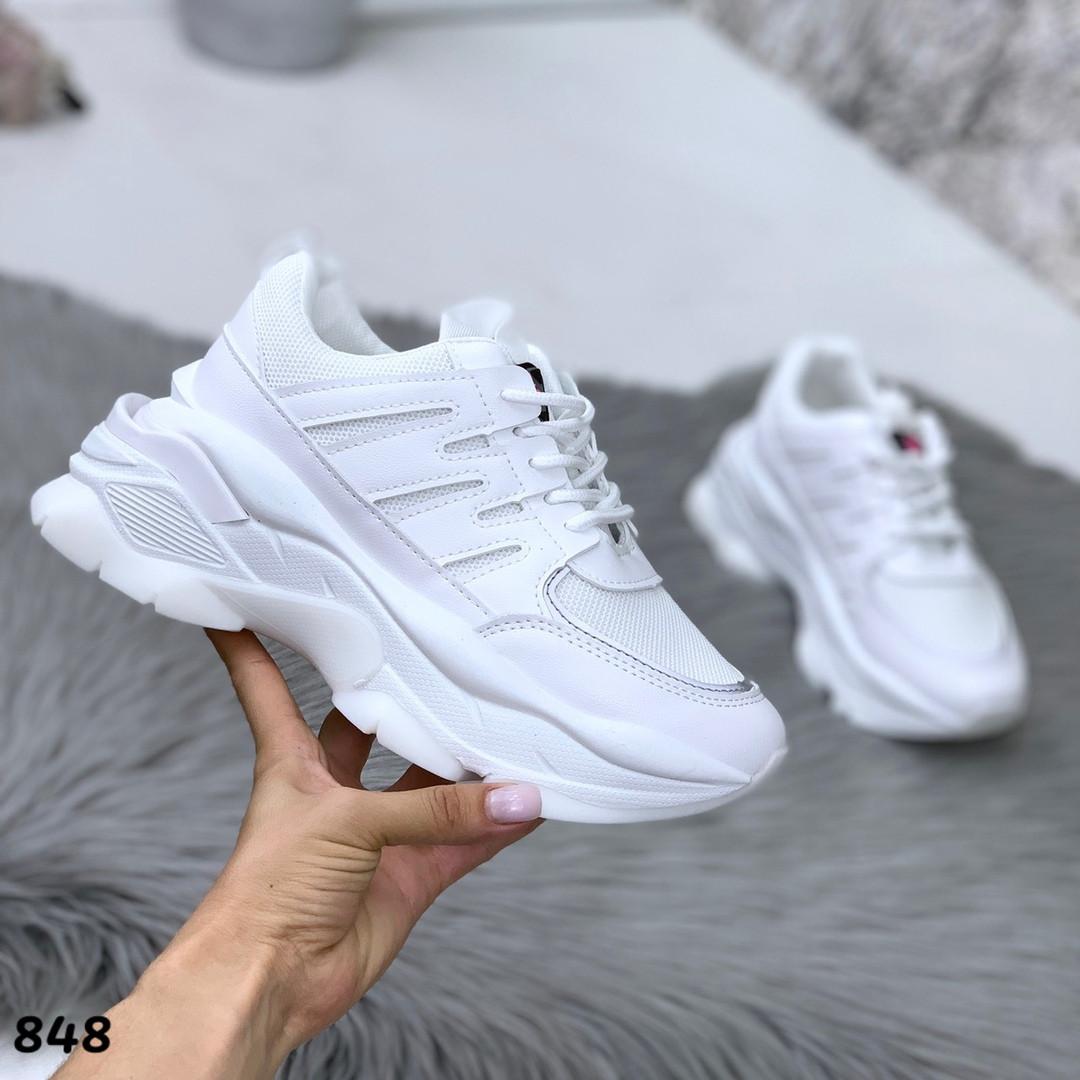 Белые кроссовки легкие женские эко кожа обувной текстиль подошва 6 см