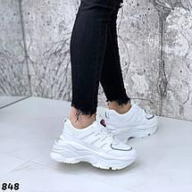 Белые кроссовки легкие женские эко кожа обувной текстиль подошва 6 см, фото 2