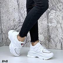 Белые кроссовки легкие женские эко кожа обувной текстиль подошва 6 см, фото 3