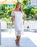 Летнее легкое платье с хлопковым кружевом  Размер: 48-52, 54-58, 60-64 Арт: 05182,1