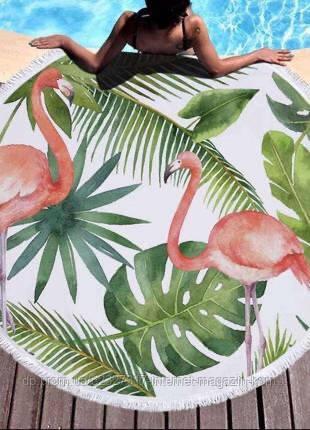 Пляжний килимок-рушник, підстилка кругла 150 см Фламінго