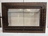 Дверь каминная стальная с стеклом прямая 600х400 мм